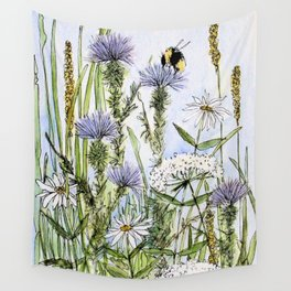 Thistles Daisies and Wildflowers Watercolor Wall Tapestry