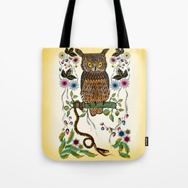 Vibrant Jungle Owl and Snake Tote Bag