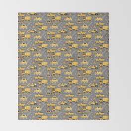 Construction Trucks on Gray Throw Blanket