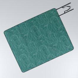 Green Ladies Picnic Blanket