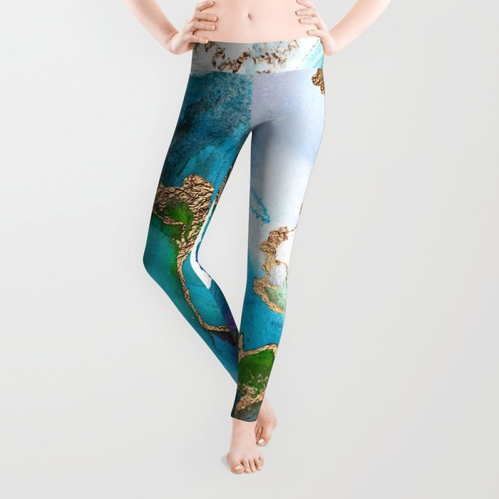 Abstract Marble Mermaid Gemstone With Gold Glitter Leggings