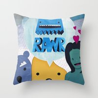 returns Throw Pillows featuring Rawr Returns! by mrbiscuit