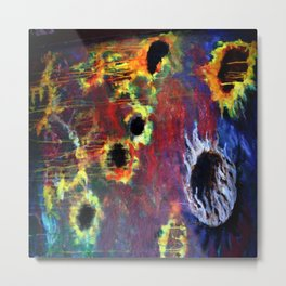 FIERY SUNS ABSTRACT DESIGN Metal Print