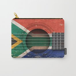 Old Vintage Acoustic Guitar with South African Flag Carry-All Pouch