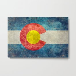 Colorado State Flag in Vintage Grunge Metal Print