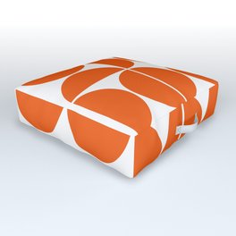 Mid Century Modern Geometric 04 Orange Outdoor Floor Cushion