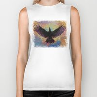 crow Biker Tanks featuring Crow by Michael Creese