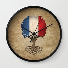 Vintage Tree of Life with Flag of France Wall Clock