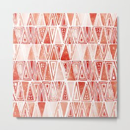 Modern Coral Tribal Ethnic Triangles Pattern Metal Print