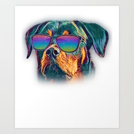 Rottweiler Colorful Neon Dog Sunglasses Art Print