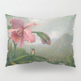 Orchid And Hummingbird Near A Mountain Waterfall 1902 By Martin Johnson Heade   Reproduction Pillow Sham