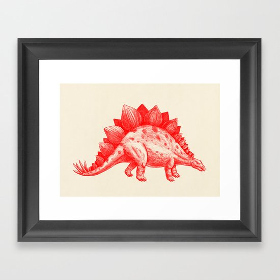 Red Stegosaurus  Framed Art Print