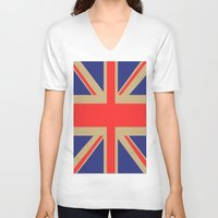 union jack V-neck T-shirts featuring Union Jack by MeMRB