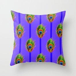 Decorative Contemporary  Peacock Feathers Art Throw Pillow