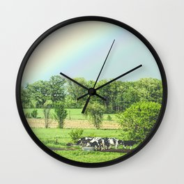 Cows and a Rainbow Wall Clock