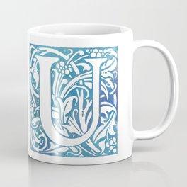 Letter U Elegant Vintage Floral Letterpress Monogram Coffee Mug