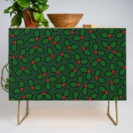 Holly Leaves and Berries Pattern in Dark Green Credenza
