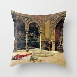 Mariano Fortuny - The Slaying Of The Abencerrajes - Digital Remastered Edition Throw Pillow