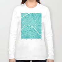 paris map Long Sleeve T-shirts featuring Paris map turquoise by Maps_art