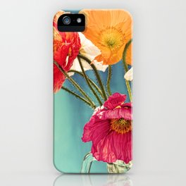Bright Dancers - Vintage toned poppy flower still life iPhone Case