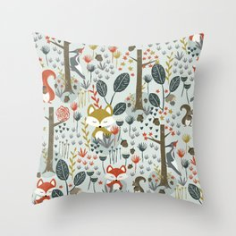 Rustic  Woodland Animals Throw Pillow