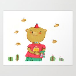Honey Bear, Busy Bees Art Print