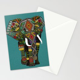 floral elephant teal Stationery Cards