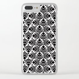 Minimal - white polka circles and dots on black - Mix&Match with Simplicty of life Clear iPhone Case