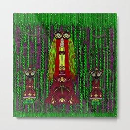 Lady Frida Kahlo arrived to the fantasy forest Metal Print