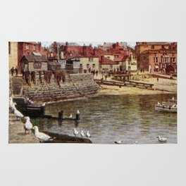 Aquarelle St Ives Cornwall Seagulls in the harbour Rug