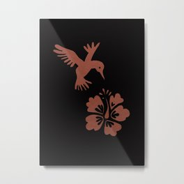 Rose Gold Hummingbird Metal Print