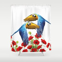 Flying macaw bird over poppies field Shower Curtain