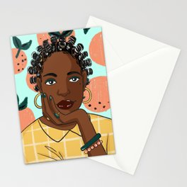 Citrus and bantu knots Stationery Cards