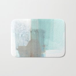 Glacial - Turqoise Blue and Brown Abstract Watercolor Painting Bath Mat