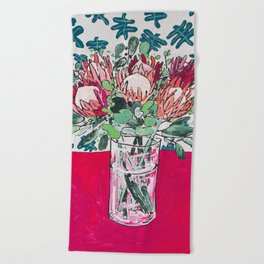 Bouquet of Proteas with Matisse Cutout Wallpaper Beach Towel