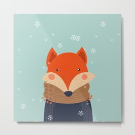 Fox Under Snow in the Christmas Time. Metal Print