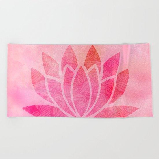 Watercolor Lotus Flower Yoga Zen Meditation Beach Towel