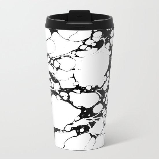 Black and White bubbles Spilled Ink Marbled Paper Metal Travel Mug