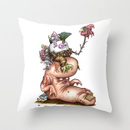 Pufty Gigrager A Marshfellow riding a Stomp Throw Pillow