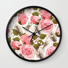 flowers with feathers Wall Clock