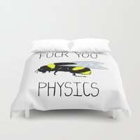 physics Duvet Covers featuring Physics sucks by Babatunde993