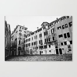 Venice, Italy, Film Photo, Analog, Black and White Canvas Print