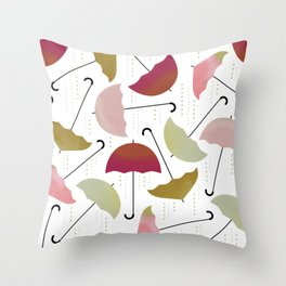 Dancing Umbrellas Throw Pillow