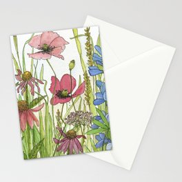 Red Poppy Wildflowers Watercolor Ink  Stationery Cards