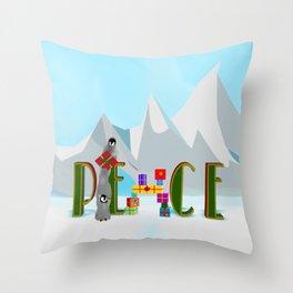 Penquin Chicks: Adding Last Piece to Peace Throw Pillow