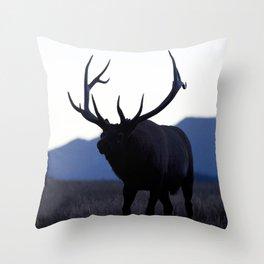Watercolor Elk Bull 52, Estes Park, Colorado, Walk Slowly Backwards Throw Pillow