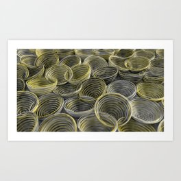 Black, white and yellow spiraled coils Art Print