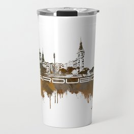 Pardubice skyline city brown #pardubice Travel Mug