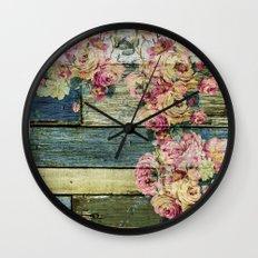 vintage roses on wood Wall Clock