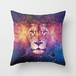 Galaxy Lion Face Throw Pillow
